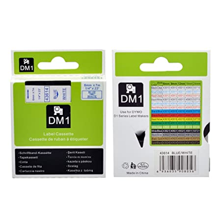 Amazon.com: 5PK D1 Label Maker Tape 43614 Dymo Labeling Replacement Cartridge Refills Blue on White for LabelManager,1/4