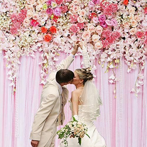 Flowers Theme Photography Backdrops Pink Curtain Background Weeding Bridal Shower Photo Studio Props for Girls Birthday Party Kids Children Baby Shower BT-flower003-6x6FT
