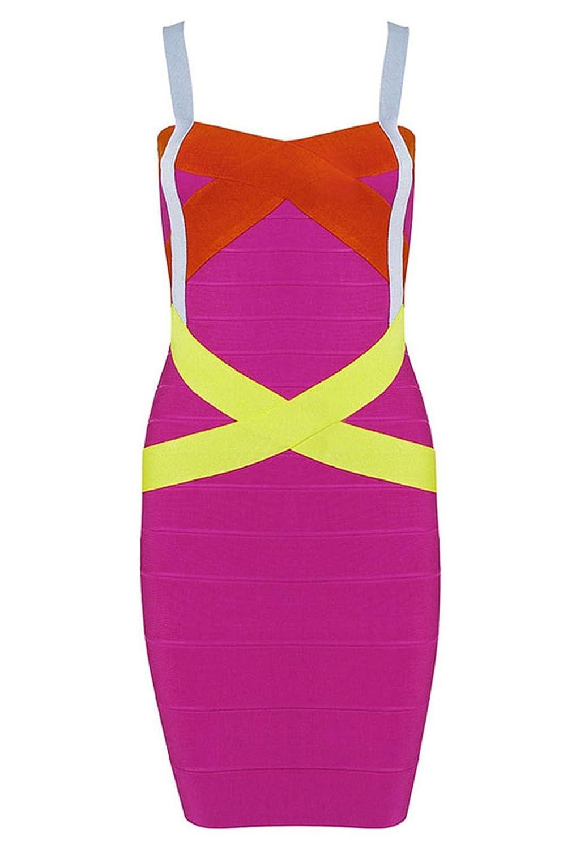 Pinkyee Women's Hot Pink Blue Yellow Criss Cross Bandage Dress