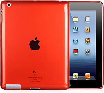 Red Silicone Soft Rubber Skin Case Cover for iPad 2//3 Protects Scratches Shocks