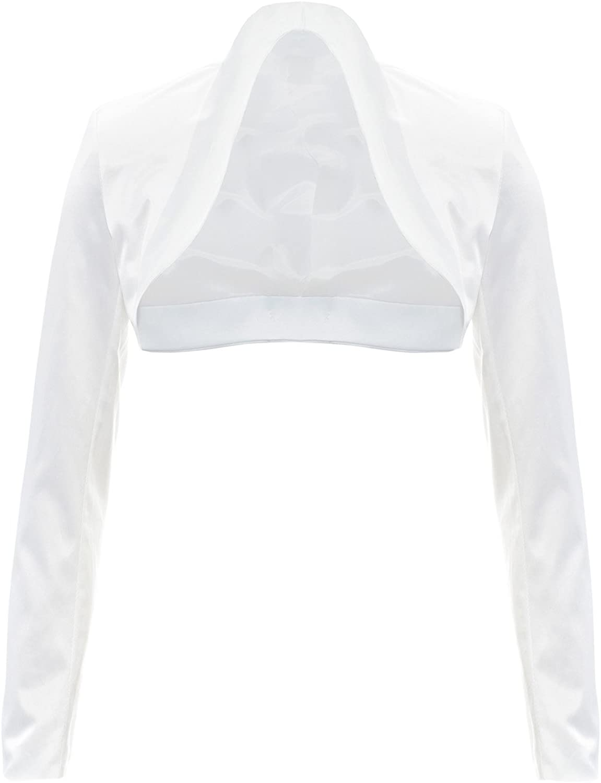 GIOVANI /& RICCHI Exklusiver Eleganter Langarm Satin Bolero Jacke J/äckchen Creme Wei/ß