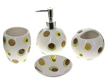 juego de 4 accesorios de baño de cerámica blanca con diseño de lunares con dispensador jabón, Contenedor Cepillo de dientes, vaso y plato de jabón set ...