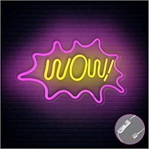 """Britrio LED Neon Light Sign, 17""""x13"""" Pink Wow Wall Art Handmade Hanging Neon Wall Sign for Kid's Bedroom Bar Shop Living Room Room Party,Home Decor Neon Night Light USB Powered with ON/Off Switch"""