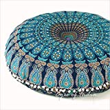 "Popular Handicrafts Kp834 Large Hippie Mandala Floor Pillow - Cushion - Pouf Cover Round Bohemian Yoga Decor Floor Cushion Case- 32"" Blue Tarqouish"