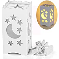 Pandawill Art Light White Table Light with Moon and Star Shaped Carvin