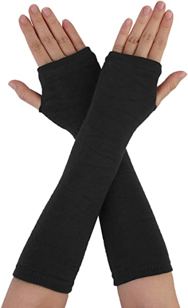 Women Protection Arm Warmer Long Fingerless Stretchy Gloves Sleeves Mittens