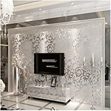 HANMERO High Quality Sliver Gray Victorian Damask Embossed Textured Wallpaper Non-woven Material Wallpaper