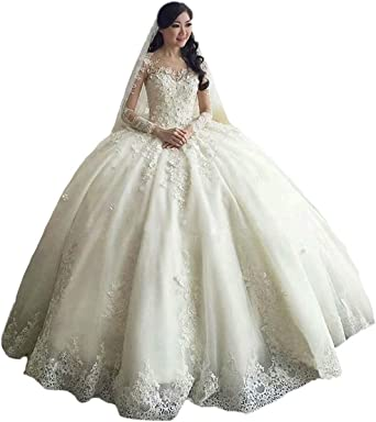 Tbgirl Women S Long Sleeve Lace Ball Gown Wedding Dresses Cathedral Train At Amazon Women S Clothing Store