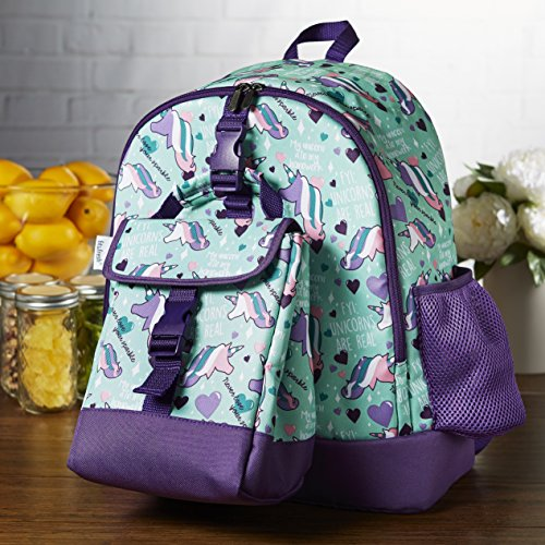 Fit & Fresh Elena Backpack for Kids with Matching Insulated Lunch Bag, School, Play, Girls, Aqua Unicorns