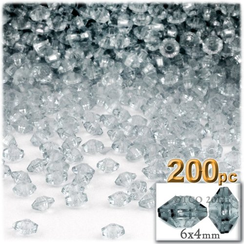 (200pc Faceted Plastic Transparent Beads Rondelle 6x4mm Clear Beads)