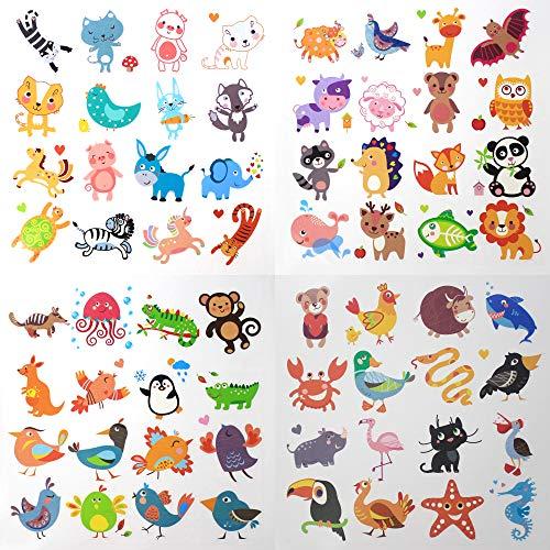 Fiomia Cute Animals Temporary Tattoo cartoon Sticker Face Decal Body Glitter for children kids girls Waterproof Removable 64 Designs 4 -