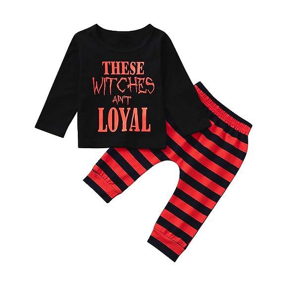 Camiseta Tirantes niño,BBestseller Ropa Bebes Camisetas niño Los Pantalones Superiores de la Letra de la Manga Larga de Halloween de los niños fijaron el ...