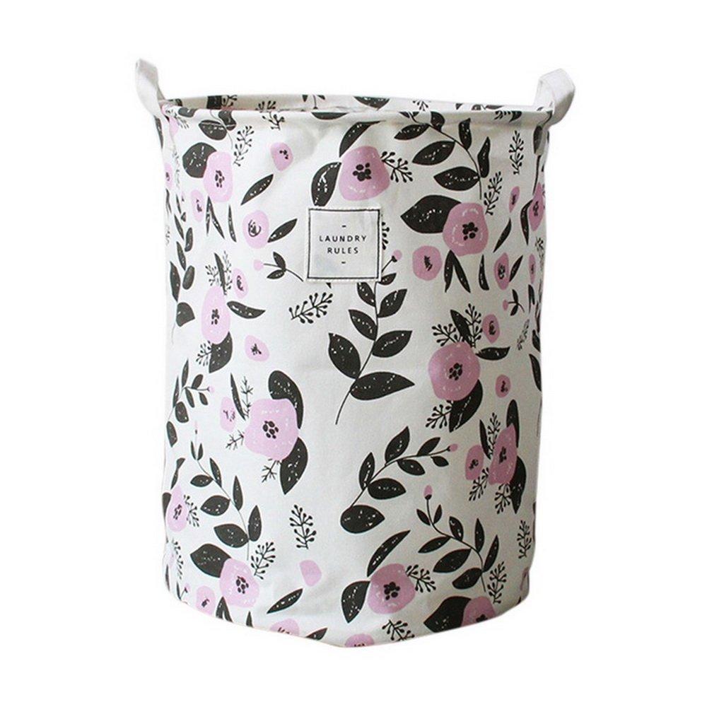 URIJK Green Leaves Pattern Laundry Storage Basket - Canvas Waterproof Foldable Laundry Hamper Bucket - Bin Storage Organizer Toy Collection