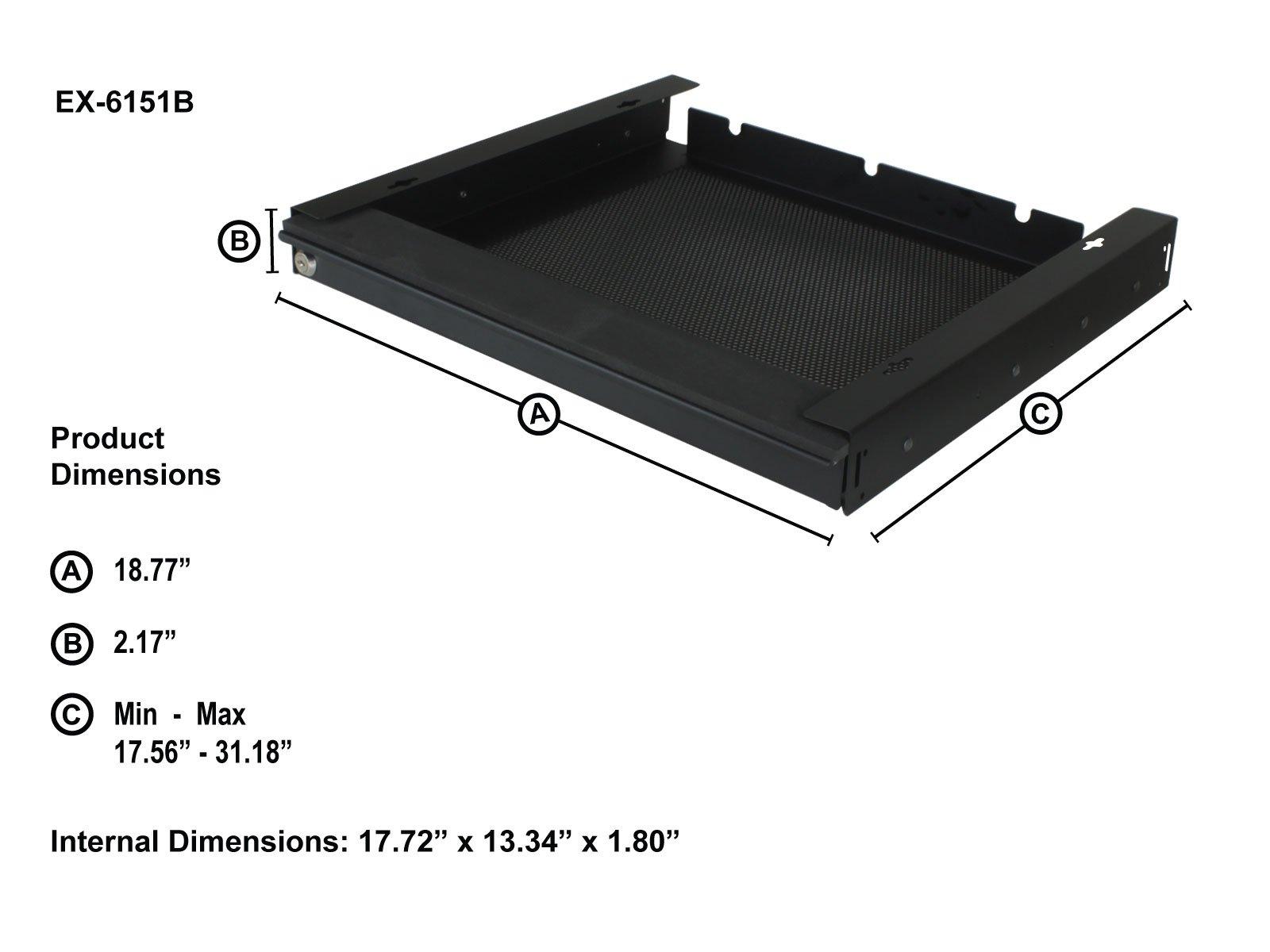 Penn Elcom EX-6151B 17'' Extendable Locking Laptop Security Drawer, Low Depth