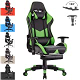 Advwin Gaming Chair Racing Style, Ergonomic Design with Footrest Reclining Executive Computer Office Chair, Relieve Fatigue Green (67 * 66 * 124-132cm)