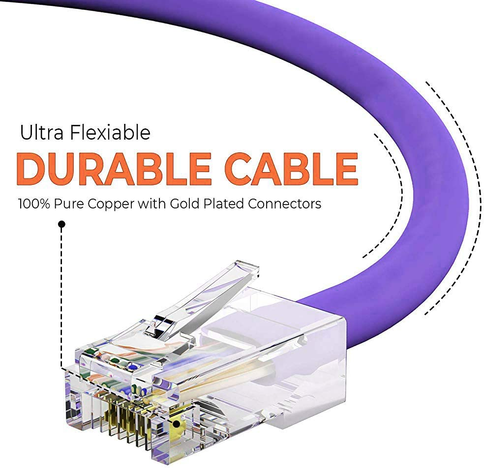 BoltLion BL-697281 Bootless Cat5e RJ45 Ethernet Cable 5 Feet 350MHZ 10 Pack Purple 1Gbps Network//Internet Cable Professional Series