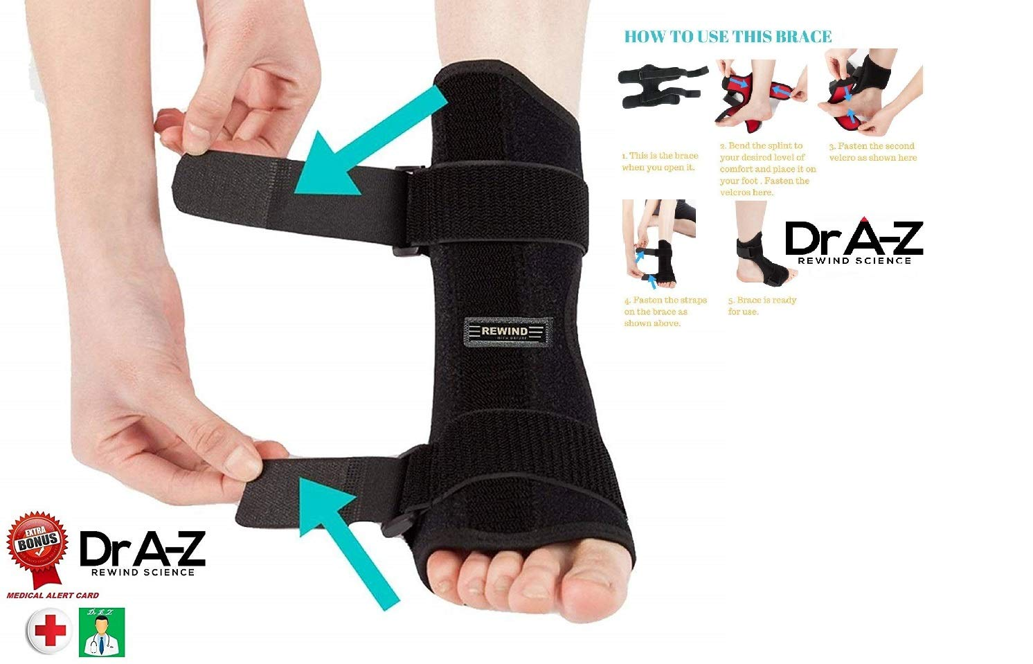3eeddb6e4b Dr A-Z Dorsal Night Splint Ankle Support Brace Plantar Fasciitis Feet Ankle  Brace Arch Support Pain Relief Effective for Heel ...
