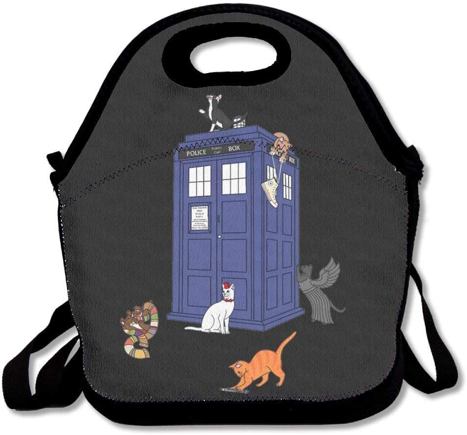 amuseds Doctor Who Cats Lunch Bags Insulated Travel Picnic Lunchbox Tote Handbag With Shoulder Strap For Women Teens Girls Kids Adults