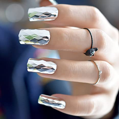 Amazon.com : Aaviland Metallic Silver False Nails Metal 3D Rhombus Pattern Long Square Fake Nails Cool Style Art French Tips Z854 : Beauty