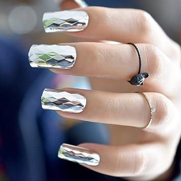 EchiQ - Espejo de metal 3D, diseño de uñas postizas plateadas metálicas estilo punk cuadrado, acrílico, para uñas, bricolaje, salón, arte, fiesta de ...