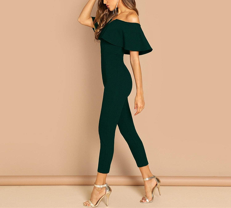 Off Shoulder Flounce Layered K Stheart Tailored Jumpsuits for Women Summer Short Sleeve Elegant Jumpsuit