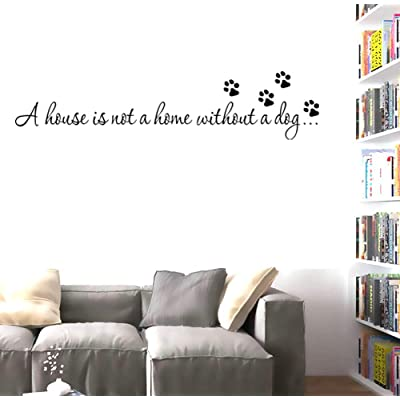 "BIBITIME Dog Footprint Puppy Paw Stickers Quotes Sayings A House is not a Home Without a Dog. Vinyl Wall Decals Lettering Inspirational,DIY 22.44"" x 5.91"": Home & Kitchen"