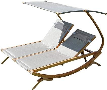 Amazon De Ass Doppel Sonnenliege Doppelliege Tulum Extrabreit Fur 2 Personen Mit Verstellbarem Dach Aus Holz Larche Von Farbe Braun