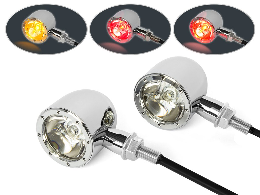Set Of 4 Integrated Led Motorbike Indicators Chrome With Driving Indicator Flash Rate Relay Resistor Motorcyle Car Uk Lights And Stop Tail