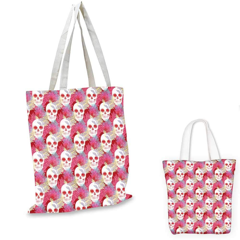 Coral canvas messenger bag Checkered Pattern with Ancient Symbol of Fleur De Lis Royal French Lily Flower foldable shopping bag Coral Baby Pink 14x16-11