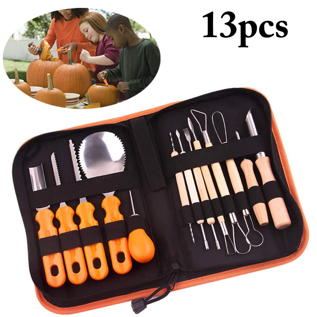 Pumpkin Carving Kit, B bangcool 13PCS Pumpkin Carving Tools Stainless Steel Kitchen Carving Set for Halloween & Festival Crafts
