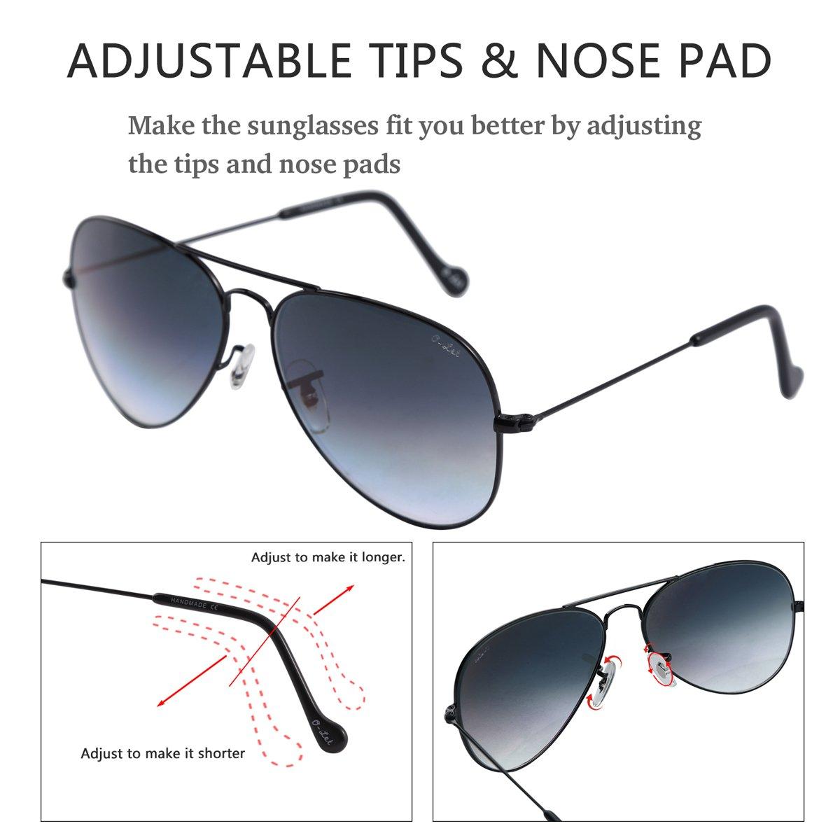 O-LET Aviator Sunglasses for Men Women Driving Fishing Glass Lens Aviators UV400 (62mm, Black Frame/aGrey Gradient Lens) by O-LET (Image #4)