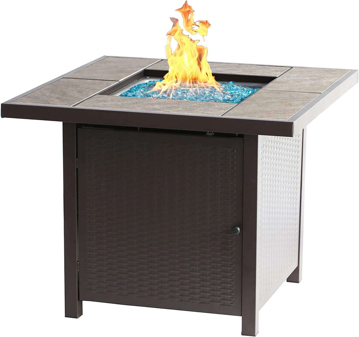 Amazon Com Bali Outdoors Propane Gas Fire Pit Table 32 Inch 50 000 Btu Square Gas Firepits For Outside Brown Garden Outdoor