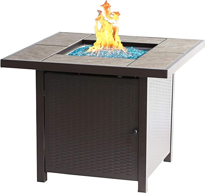 Bali Outdoors Propane Gas Fire Pit Table 32 Inch 50 000 Btu Square Gas Firepits For Outside Brown Garden Outdoor Amazon Com