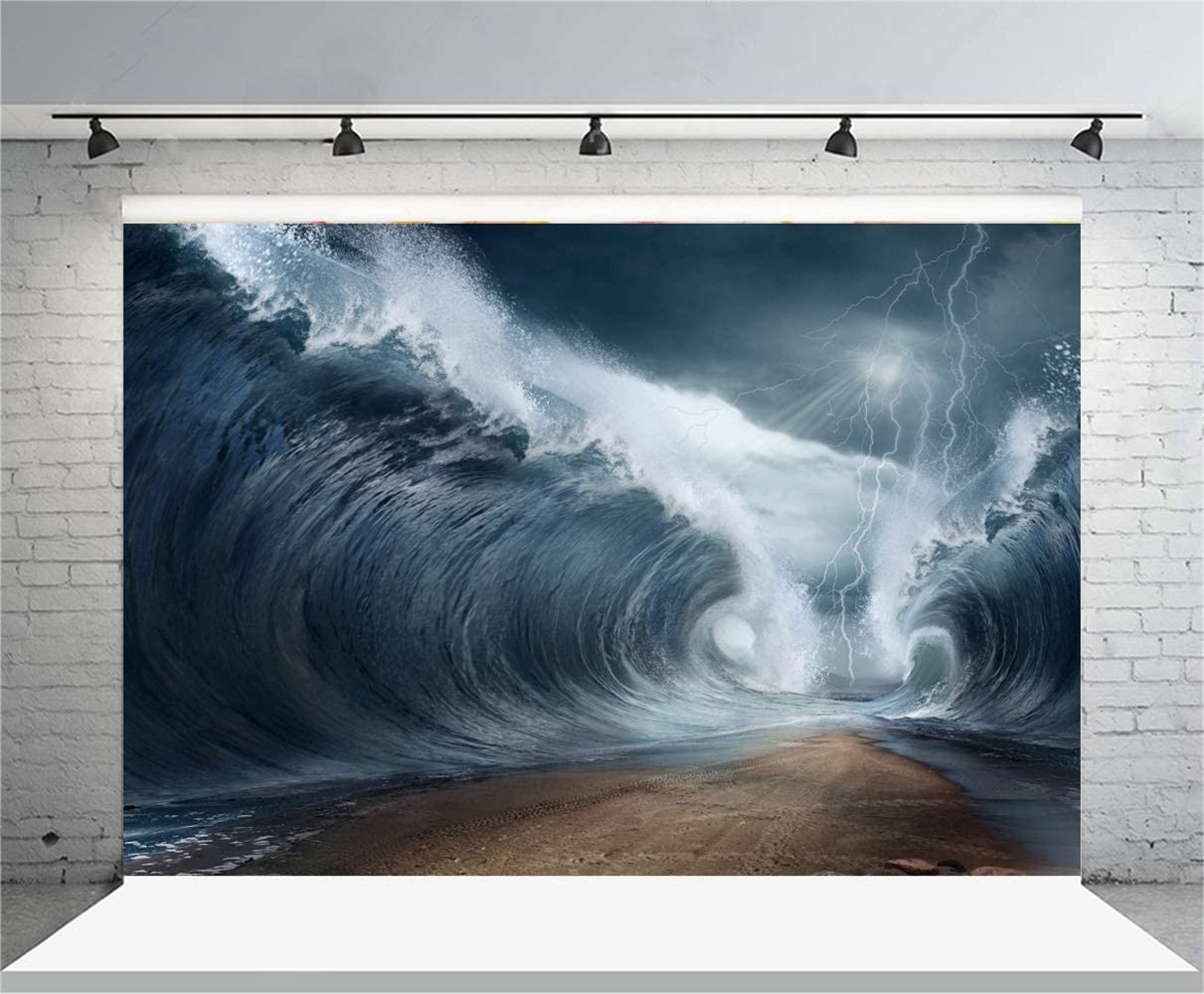 8x6.5ft Marine Theme Polyester Photography Background Spectacle Huge Sea Wave Thunderstorm Scenic Backdrops Child Kids Adult Artistic Portrait Shoot Nature Phenomenon Road Between Water Scene