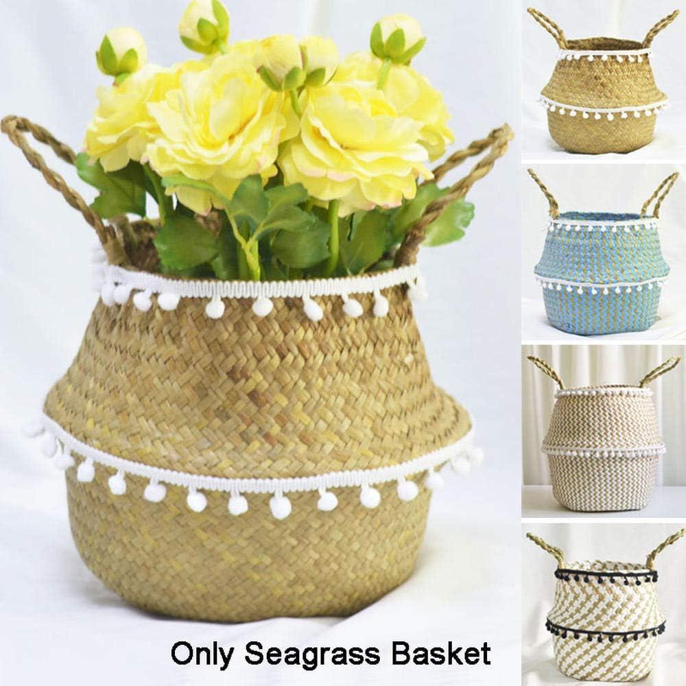 yibuf Seagrass Belly Storage Basket Flower Basket Home Garden Decor Flower Plants Pots with Pom Laundry Storage Basket-C_S C