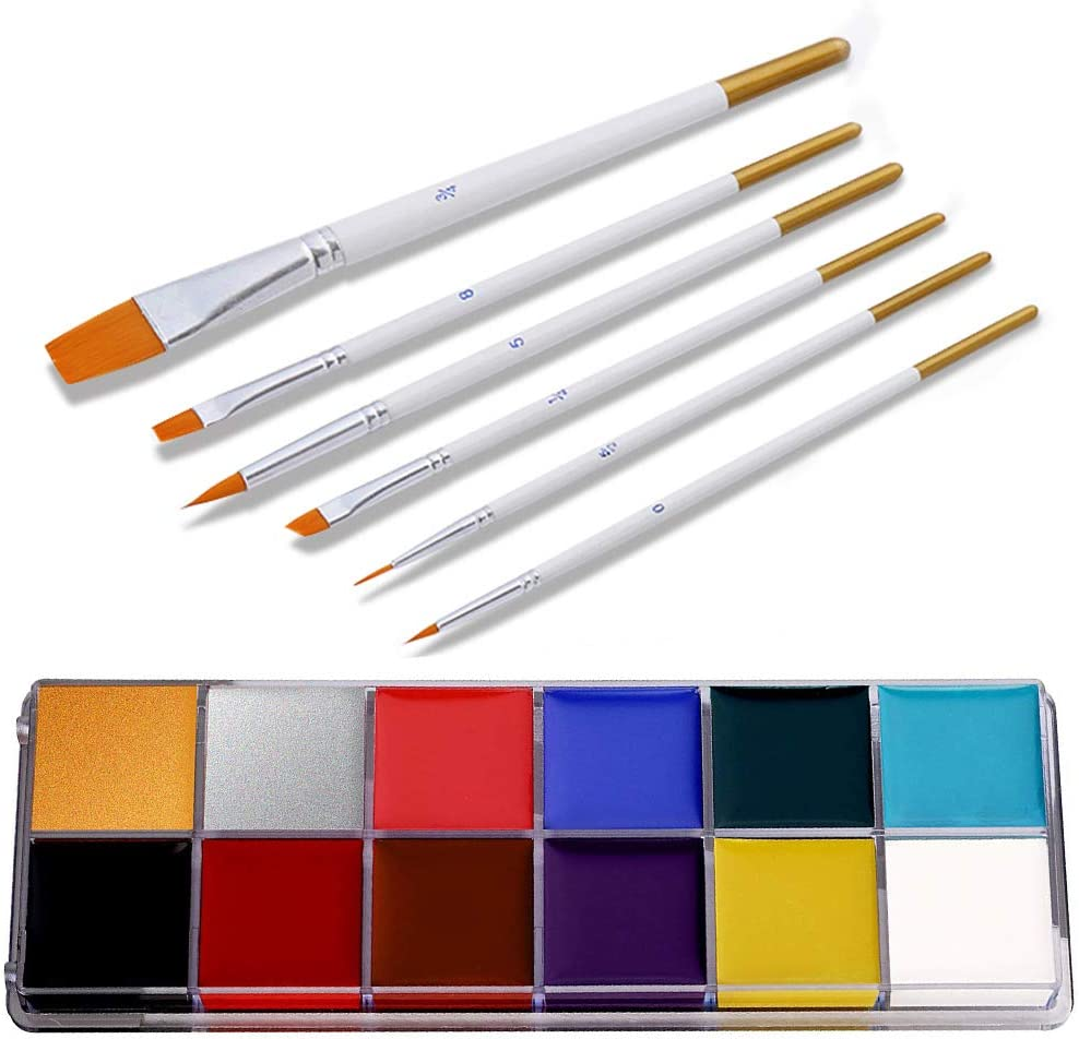 Face Body Paint Oil 12 Colors, Face Painting Kits, ProfessionalPainting Halloween Art Party Fancy Make Up Set with 6 Brushes, Hypoallergenic Safe Non-Toxic Oil Body Paint Kits for Adults and Kids