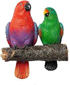 GEEKIA Parrot Bird Tree Hugger Sculpture Outdoor Décor Garden Statue Bird Sculpture Wall Hanging Resin Crafts Handmade