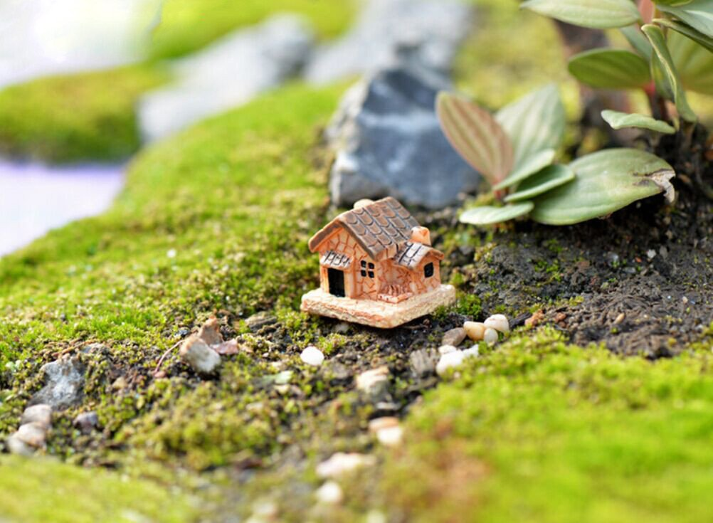 DIY Mini Craft Cottage Landscape Decoration, Creative Decor Home Decal, ♚Rendodon♚ Mini Dollhouse Stone House Resin Decorations For Home And Garden DIY Mini Craft Cottage Landscape Decoration (Random)