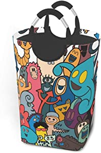EJudge Laundry Basket Cute Fun Colorful Monster Large Collapsible Dirty Laundry Hamper Bag Tall Fabric Storage Baskets Rectangle Fold Washing Bin Hand Clothes Organizer for Kids,Dorm 50L