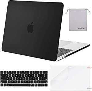 MOSISO MacBook Pro 15 inch Case 2019 2018 2017 2016 Release A1990 A1707, Plastic Hard Shell Case&Keyboard Cover&Screen Protector&Storage Bag Compatible with MacBook Pro 15 Touch Bar, Black
