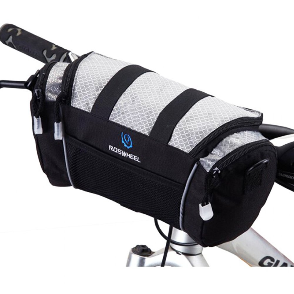 Silver TOMTOP Cycling Bike Bicycle Handlebar Front Bar Bag Basket Velcro