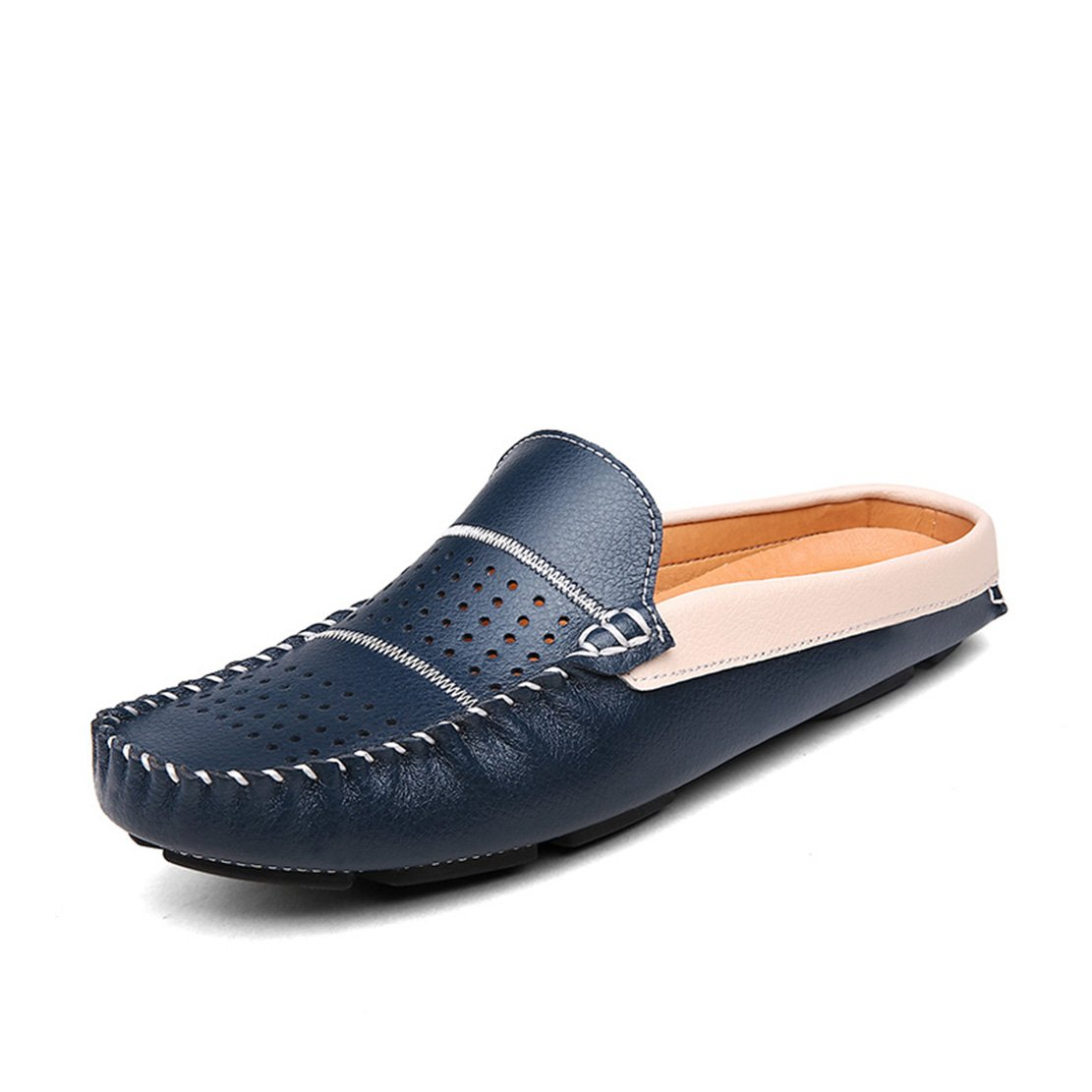 Go Tour Men's Comfortable Soft Scuff Leather Slippers Slip-on Loafters Shoes Blue 43