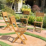Cheap Vicaro | Acacia Wood Foldable Outdoor Dining Chairs | Set of 4 | Perfect for Patio | with Natural Finish