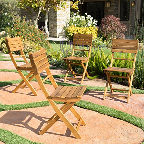 Vicaro | Acacia Wood Foldable Outdoor Dining Chairs | Set of 4 | Perfect for Patio | with Natural Finish