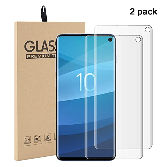 meet a4a03 d6853 Amazon.com: [2 Pack] Galaxy S10 Tempered Glass Screen Protector Film ...