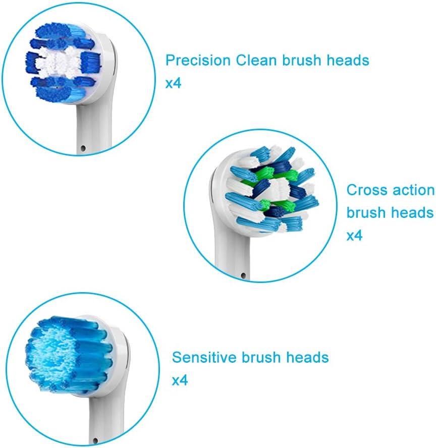 BENSN 12 Unidades de Cabezales de Cepillo de Dientes de Limpieza Oral Combinados para reemplazo Braun Oral B Cepillo de Dientes eléctrico, 4 Limpieza Diaria, 4 Limpieza multiángulo, 4 Suave Sensible: Amazon.es: Electrónica