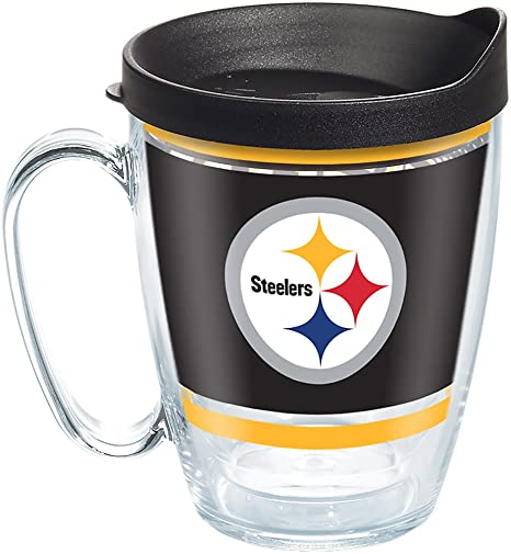 Tervis 1257491 Nfl Pittsburgh Steelers Legend Tumbler With Wrap And Black Lid 16oz Mug Clear
