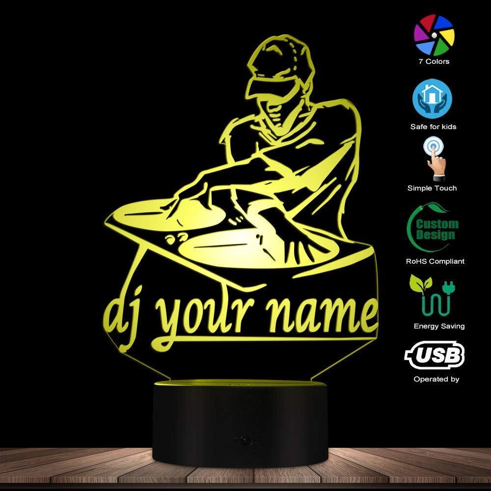 Luz Nocturna 3D,Disco Dj Led Night Light Lámpara De Mesa Creativa Dj Turntable Personalizado Personalizado Su Nombre Music Club Party Iluminación Decorativa, Control Remoto