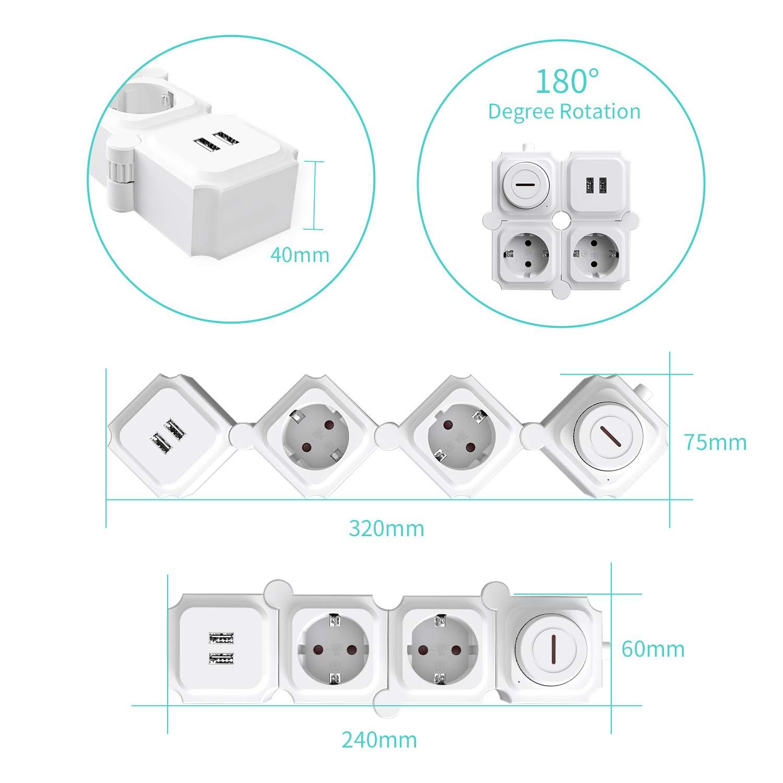 Blanco 3680W Power Strip Regleta Enchufes M/últiples con Protecci/ón Sobretensi/ón y Sobrecarga UCOMEN Regleta Enchufes 4 Tomas 2 Puertos USB