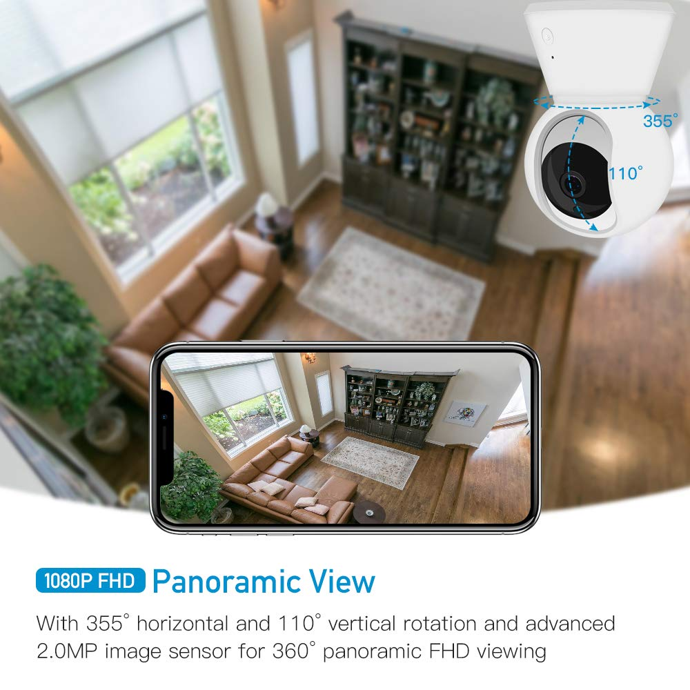 Kolaura 1080P FHD WiFi IP Camera, Wireless Home Security Surveillance Indoor Camera with Two Way Audio Night Vision Motion/Baby Crying Detection Pan/Tilt/Zoom Function